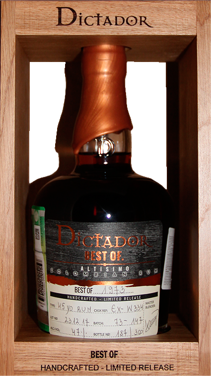 Dictador Best Of, Altisimo 1973, in wooden box, 0.7 л.