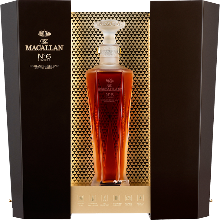 Macallan №6, Lalique, in wooden box, 0.7 л.